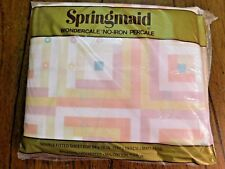 NEW VINTAGE SPRINGMAID New Country Gear Log Cabin Pink Full sheet Flat