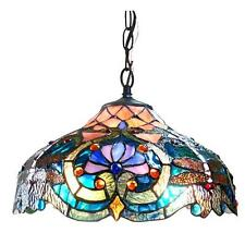"""Tiffany Style Pendant Ceiling Lamp Blue Turquoise Stained Glass Shade 60"""" Chain"""