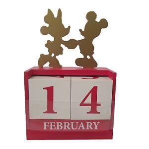 Disney Wood Block Calendar Mickey & Minnie Mouse Decor Red White Gold