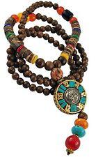 Mala Buddha Gebetskette Rudraksha OM AUM Tibet Sandelholz Perlen Bodhi (TG00232)