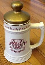 RARE St. Joseph High School BUNTINGWARE DRINKING STEIN w/ Lid, Trumbull, CT 1969