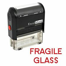 NEW ExcelMark FRAGILE GLASS Self Inking Rubber Stamp A1539   Red Ink