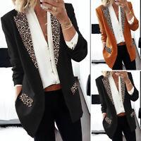 ZANZEA Women Blazer Office Work Long Sleeve Jacket Coat Outerwear Leopard Suit