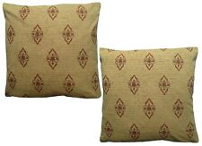 Pack of 2 Vintage Traditional Floral Woven Design Cushion Covers Golden Yellow