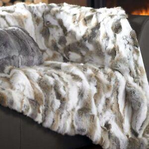 "Genuine Natural Luxury Rabbit Fur Throw Real Rex Fur Bedspread Blanket 80""x60"""