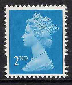 GB 1998 sg1664a 2nd Bright Blue photo. centre band perf. 14 booklet stamp MNH