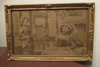 antique original hand sewn embroidered 1800's figural needlepoint tapestry art