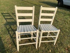 Pair of Vtg wooden Wood Slat slatted shaker cottage  Kitchen farmhouse Chairs