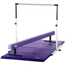 Kids Home Gym Set - Horizontal Bar Suede Balance Beam Mat Combo - Usa Made