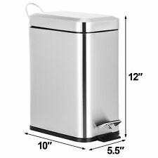 5L Stainless Steel Trash Can Household Pedal Wastebasket Ashcan Kitchen Decor