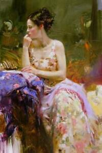 CHOP1330 100% hand painted fashion long dress girl oil painting art on canvas