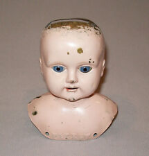Old Antique Vtg Ca 1800s Brass Doll Head Marked PATENT Glass Eyes Unusual Nice