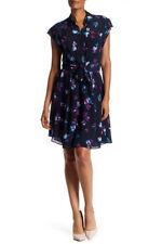 Rebecca Taylor $395 Sleeveless Bellflower Print Tie Silk Dress - Navy - Size 4