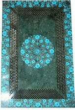 4'x2.5' green marble Table Top floral Inlay stones pietra dura art Work handmade