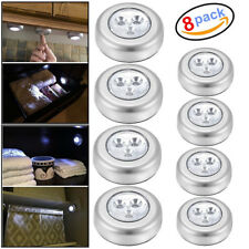 3 LED Touch Push On/Off Light Self-Stick On Click Battery Operated Lights 8 PCS