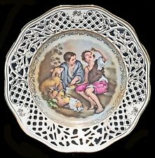 VINTAGE SCHUMANN ARZBERG GERMANY HAND ENAMELED RETICULATED PLATE CHILDREN & DOG