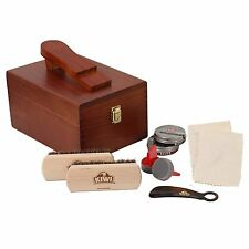 Kiwi Select Shoe Shine Care Kit Valet II Wooden Box w/ 10 pc Content