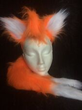 Tails The Fox Sonic Bright Orange Fox Ears And Double Tail One Size Fancy Dress