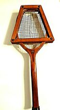 Antique D&M Wood Tennis Racquet with Press - Hunting Dog Decal - Draper Maynard