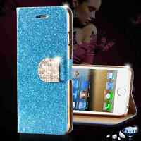 Luxury Glitter PU Leather Wallet Cover Flip Stand Card Slot Case for iPhone