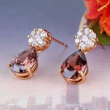 18k gold filled smoky sapphire endearing design wedding dangle earring