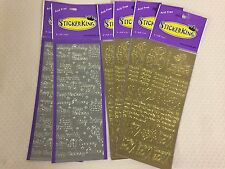 Gold & Silver Stickers Assortment 6 Sheet Packages for Scrapbook Cards Envelopes