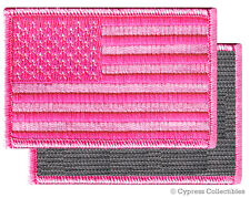 AMERICAN FLAG BIKER PATCH PINK RIGHT embroidered USA w/ VELCRO® Brand Fastener