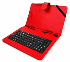 Rojo Imitación Cuero Funda De Teclado Para Amazon Kindle Fire HDX/HD + Stylus Gratis!