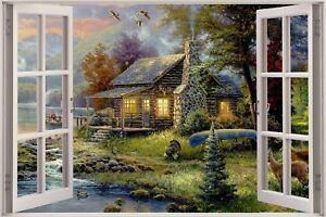 Cheap 3D Window view Enchanted Boat House Wall Sticker Film Decal Wallpaper S67