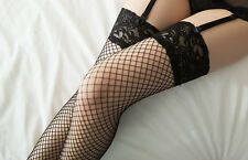 Elastic Knee High Black Thigh Socks Sheer Hollow LACE TOP FISHNET STOCKINGS
