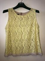 Laura Ashley Top Size 18 Lace Yellow With Beige Trim