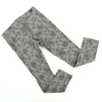 Paige Womens Peg Skinny Leg Gray Floral Jeans Sz 30 (31 x 29) Made in USA