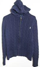 RALPH LAUREN Boys Age 12-14 Navy Blue Hooded Zip Through Cardigan