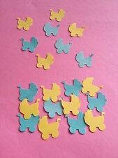 50 Green and yellow pram babyshower table confetti scrapbooking craft decoration