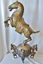 """BIG 29.5"""" Chinese Brass or Bronze Horse Statue w/ Archaic Style Chilong & Marks"""