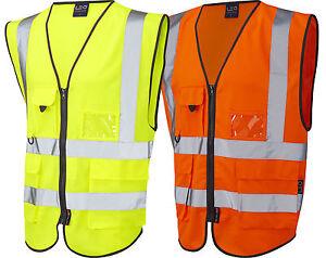 HiVis Viz Executive Safety Vest Waistcoat Phone ID Pocket Yellow & Orange S-XXXL