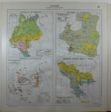 1929 ORIGINAL MAP ~ EUROPE ECONOMICAL AGRICULTURE POLAND LITHUANIA RUSSIA