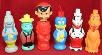 (6) Soaky Lot - Goofy Woody Woodpecker Pinocchio Pluto Jiminy Cricket - Vintage