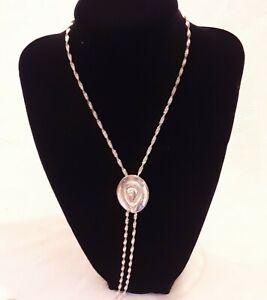 "Western Hat Silver tone slide Bolo Tie necklace twist 36"" chain"