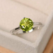 2.00 Ct Round Cut Peridot Gemstone Engagement Ring 14K White Gold Size M N O P
