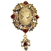 Vintage Women Crystal Brooch Pin Girls Old Style Cameo Decorative Brooch Pin