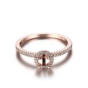 Worth! 10K Rose Gold .17CT Natural Diamond 4-4.5mm Round Semi Mount Halo Ring