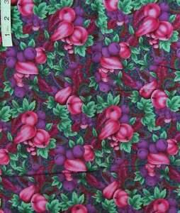 Jewel-Like 'Canterbury Manor' Purple Floral Print Cotton Quilt Fabric,Hoffman