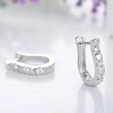 Elegant Hoop Earrings Silver White Gemstones 1 Pair Harp Horse Shoe Earrings