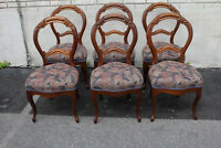 Set of 6 Victorian Walnut Spring Side Dining Chairs, New Upholstery