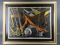 Mid Century Abstract Modernist Circus Bicycle Signed Lithograph Print