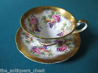 Paragon England  roses and fruits with heavy gold rim 1950s Tea Cup & Saucer[107