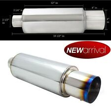 "Fit IS300 Weld On 4"" Chrome Burn Tip 2.5"" Inlet Muffler Exhaust w/ Silencer"