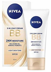 Nivea 5 in 1 Day Cream BB 24H Moisture SPF20 Light Skin Tone 50ml [UK Stock]