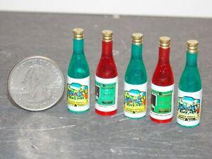 Dollhouse Miniature Wine Bottle Set 5pc 1:12 One Inch scale E20 Dollys Gallery